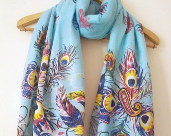 Peacock Oversize Pareo, Scarf, Beach Cover Up, Swimwear Wrap, Pareo, Handmade Shawl, Accessories, Summer Fashion, Beach Clothing.