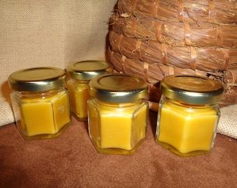 Set of 4 Mini Hex Jar Tea Light Beeswax Candles