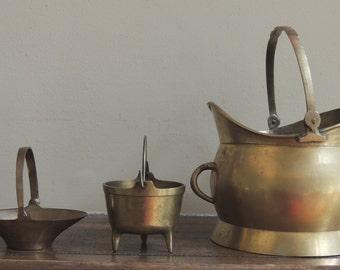 Collection of THREE Brass Baskets, Vintage Brass Pails