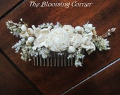 Bridal Hair combs, Hair comb, ivory hair comb, Dried hair comb, Flower Bobby Pin, dried flower comb, Wedding Hair Accessories, hair Pin