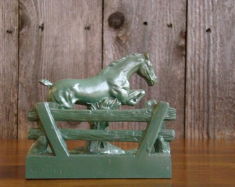 A Green Jumper - Vintage 1920s Enamel Painted Metal Horse on Matching Base