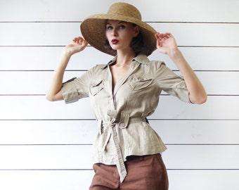 SAHARA Vintage beige pure linen cinch waist belted short sleeve shirt jacket blouse top S