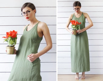 Vintage khaki green linen racer back tiny strap sun maxi dress M