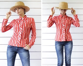 70s Vintage red white striped chain print button up long sleeve shirt blouse top XS S