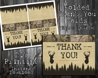 INSTANT DOWNLOAD - Little Hunter Collection - Thank You Note Cards - Birthday Party Printables - DIY Printing - Camo, Deer, Hunting, Arrows