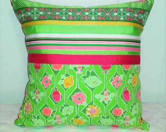 Lilly Pulitzer inspired Pillow Lady Bug grosgrain  ribbons Pink and lime green OOAK
