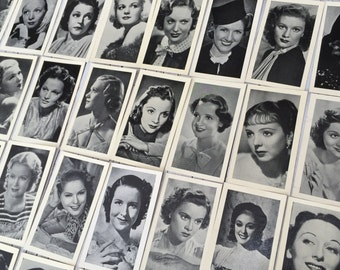 Famous Film Stars, full set of 40 vintage cigarette cards from 1938. Collectable cigarette cards from R & J Hill.