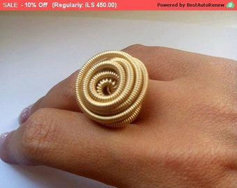 Gold spiral ring, Coiled ring, Personalized Womens Jewelry, Gold statement ring, Gold ring for women, Unique handmade jewelry