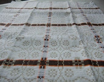 Vintage Swedish woven small coffee tablecloth with folk pattern