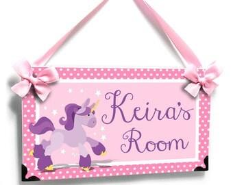 baby nursery unicorn door sign girls baby pink and purple polka dots  nursery name plaque - P2078