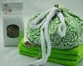 Green Print Cotton Lotus Birth Kits - Lined