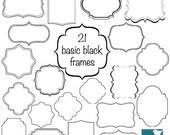 70% Sale Simple Black Frames - Digital Clipart / Scrapbooking card design, invitations, paper crafts, web design - INSTANT DOWNLOAD