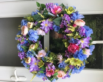 Blue Hydrangea with Lavender Clematis & Lilacs Wreath