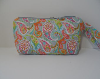 Quilted wristlet grey and pastel paisley, small purse with zipper