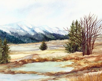 "Lamar Valley in Yellowstone,Watercolor Painting Reproduction by Wanda""s Watercolors"