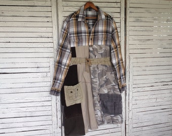 "Frumpy ""Columbo Trench Coat"", Plus size, Upcycled Clothing, Upcycled Coat, From Flannel Shirt and Pant Legs"
