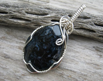 Pietersite Pendant, Sterling Silver Chatoyant Necklace, Free Form Gemstone Cabochon, Wire Wrapped Pendant,  READY To SHIP GP3
