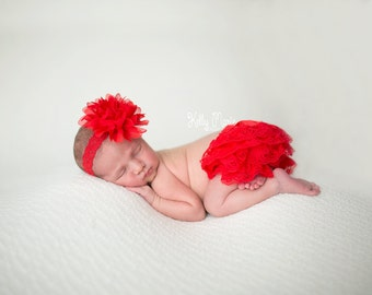 Red Lace Bloomers and Headband, Available in other colors, Newborn Bloomers and Headband, Newborn Bloomer Set,  Newborn Photo Prop