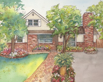 Watercolor House Portrait - Hand painted landscape of your home or business including mat