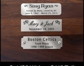 """Engraved Brushed Silver Nickel Plate Picture Frame Art Label Name Tag 2-1/2"""" x 3/4"""" with Adhesive on Back or Holes with Screws"""