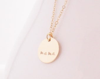 Mama Gold Disc Necklace, Mom, Mommy, Mother's Day, Mother's Necklace, Mother