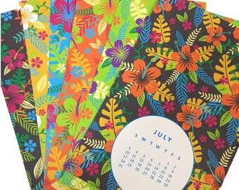 """Updated 2017 Calendar // 2017 Wall Calendar // Desk Calendar // Tropical Calendar // Wall Calendar // 5.5""""x8.5"""" Calendar / Postcard Calendar"""
