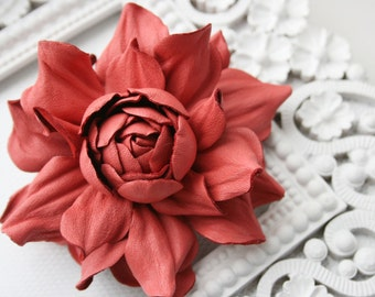 Coral Leather Rose Flower Brooch/Hair Clip