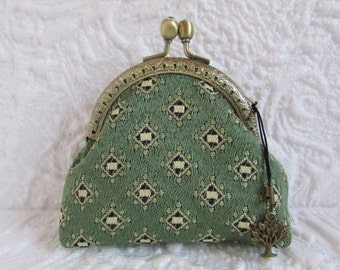 118A - Coin purse - Fabric with Metal Frame, handmade, wallet