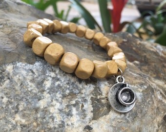 Wooden Beaded Bracelet Ivory for Men and Women With Coffee Charm