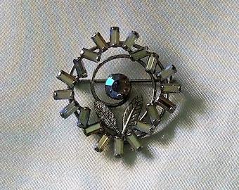 Brooch Vintage Sterling Silver AB Baguette Crystals Silver Leaves Elegant Wedding Gift, Favor, Evening, Gala