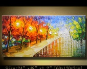 Abstract Wall Painting,Palette Knife Abstract Painting, Textured Painting,,Landscape Painting ,Park Lights Painting  on Canvas, by Chen m03