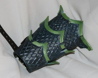 Distressed Leather Blue/Green Scale Bracer