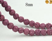 15 inch strand of Lava matte round beads,red color 8mm