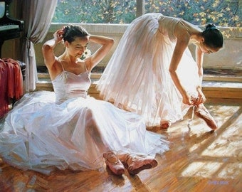 """BALLET. BALLERINAS. Dance. Painting on Giclee canvas 16""""X20"""" with mat frame Art"""
