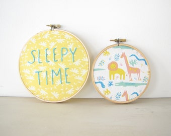Sleepy Time Embroidery Hoop Nursery Decor, yellow floral, aqua blue jungle safari animals, baby shower gift, kids wall art