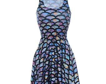 Mermaid dress. Rainbow Mermaid Dress. Ariel Dress. Scales. Dance wear. Rave wear. Club wear.
