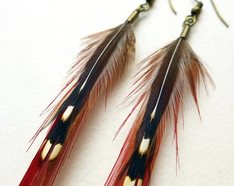 Feather Earrings, long dangle spear-shaped feather earrings, jewelry for her
