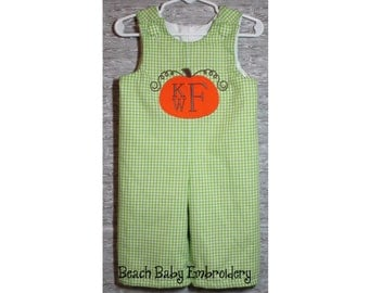 Gingham Monogrammed Pumpkin Jon Jon, Longall, or Baby Bubble Romper, Many Colors, Many Sizes, Made-to-Order Custom Boys Outfit