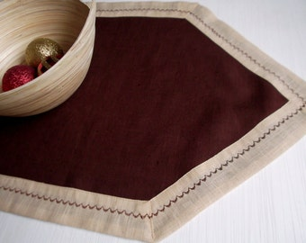 Linen table runner natural brown beige linen tablecloth dining decor