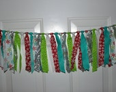 SALE Bright Red and Silver Snowflake Christmas Red, Lime and Turquoise Fabric Garland Rag Tie Banner Party Decoration, Photo Prop Backdrop