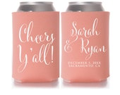 Wedding Koozies, Cheers Y'all, Personalized Can Coolers, Wedding Favors, Beer Sleeves, Can Sleeves, Can Coolers, Coral - T325