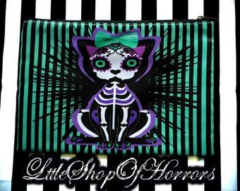 S A L E Calavera Kitty Cosmetic Bag