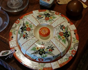 Vintage Serving Dish for Appetizers or Candy with Four Sections Orange and Black Luster - Made in Japan