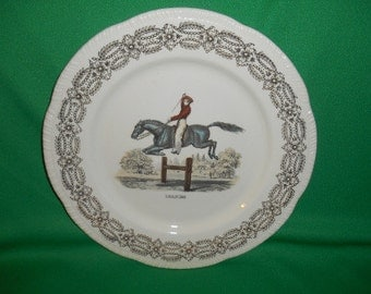 """One (1),  Homer Laughlin, 10"""" Dinner Plate, in the HLC 3486, Equestrian Center, """"LEAPING"""" Pattern."""