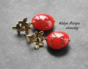 Earrings posts , red earrings, earrings lampwoek handmade, earrings berry, earrings handmade , drop earrings