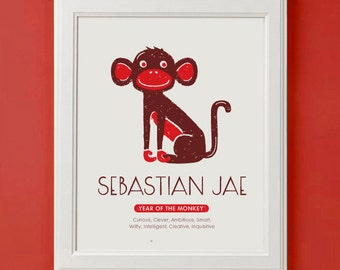 Year Of Monkey Chinese Zodiac SIgn Children's Wall Art