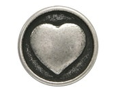 6 Small Heart 1/2 inch ( 13 mm ) Metal Buttons Silver Color