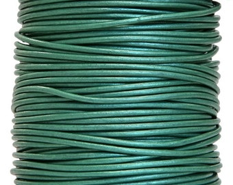 Round Leather Cord 2 mm Diameter Truly Teal Color (Length: 5 Yards)
