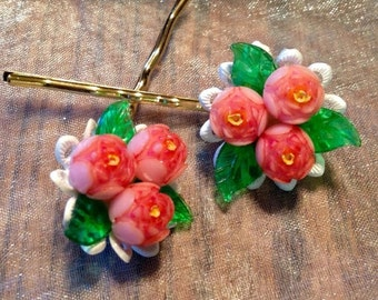 SALEWindyDays Decorative Hair Pins Jewelry 40's Coral Shell Celluloid Flower Hairpins Bobby Pins