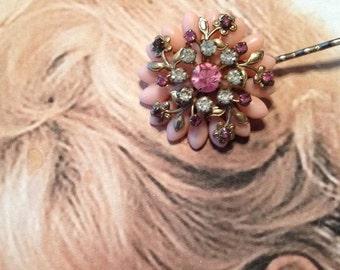 SALEWindyDays Decorative Hair Pins 1940's Pink Floral Flower Filigree Hairpin Bobby Pin Valentine's Day